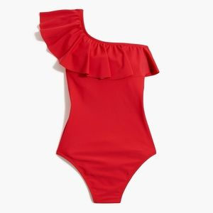 Ruffle One Shoulder Bathing Suit